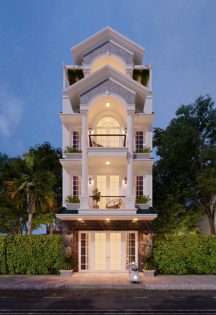 Nhà phố mái ngói phong cách tân cổ điển 4 tầng